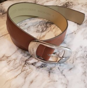 The limited brown belt silver buckle small